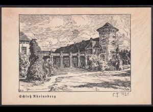 AK 1921 Schloss Rheinsberg Federzeichnung von Dirk van Hees (65087