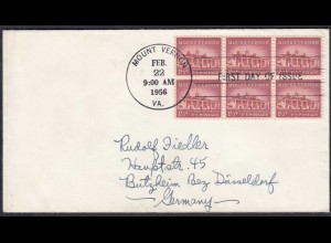 USA 1956 FDC Block of 6 MOUNT VERNON Michel 653 (65141