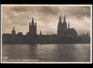 AK 1936 Köln Rhein Abendstimmung Echte Photographie Frankatur! (65164