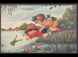AK Sommerfreuden Kinder See Frosch (65174