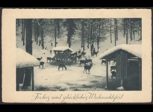 AK Jagd Wildfütterung Weihnachten 1931 von Werne Kreisbrückenstempel - Lette