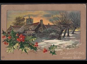 AK Prägedruck Ein glückliches neues Jahr gelaufen nach Lette (65176