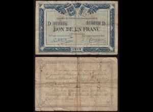 "France 1918 Bon de 1 Franc Lokal Bon ""Quimper & Brest"" VG (15392"
