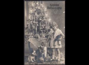 AK herzlichen Weihnachtsgruss Kind Baum Geschänke 1933 nach Havixbeck (65191