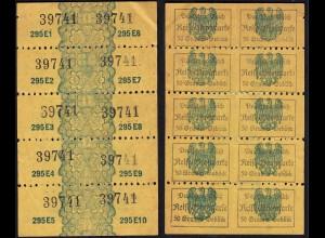 Deutsches Reich Reichs-Brotkarte 10er Block gezähnt für je 50 Gramm Gebäck