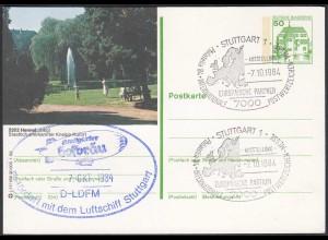 Stuttgart Ganzsache SST Europäischer Partner Befördert Luftschiff 1984 (65207
