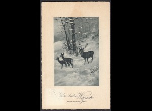AK Wünsche zum neuen Jahr Winter Hirsche Jagd 1929 (65219