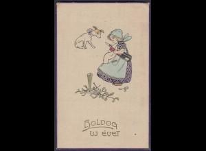 AK 1916 Mädchen Hund BOLDOG UJ EVET Feldpost (65230