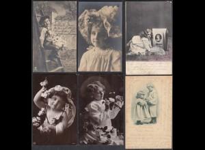 AK 6 Stück Mädchen Kinder Jugendstil und Fotos (65231