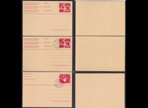 Schweiz - Switzerland 3 Stück Ganzsachen (2 Ersttag) Postal Stationery (65237