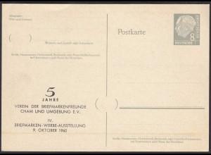 8 Pfennig Ganzsache Heuss mit Zudruck Cham Oberpfalz 1960 (65253