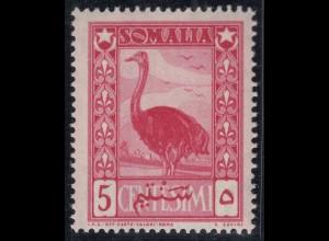 Somalia Ital.Kolonie 5 C. 1932 postfrisch MNH Vogel - Strauss (65310