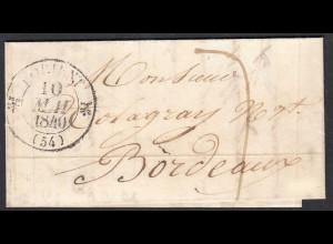 Frankreich-France 1840 Vorphila LORIENT - NANTES - BORDEAUX small letter (27838