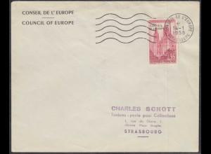 Frankreich-France 1958 Mi.Nr.1 Dienstmarke Europarat Ersttag 35 Fr. Ersttag