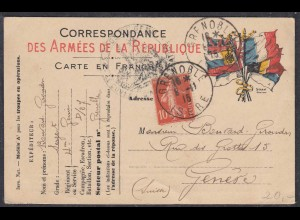 Frankreich-France Army Postal Card Allied Flags 1915 GRENOBLE ISERE to GENEVE