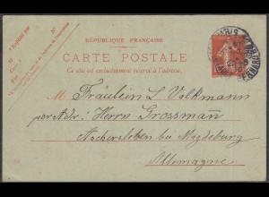 Frankreich-France 10 C. Ganzsache Säerin 1910 Paris nach Aschersleben (27843