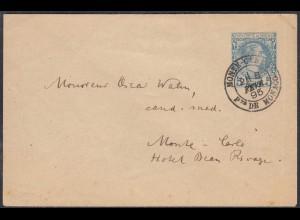 Monaco - Monte Carlo Ganzsachen Umschlag 1895 als Ortsbrief (27849