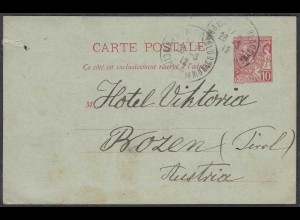 Monaco - Monte-Carlo Ganzsachen Karte 1912 nach Bozen Austria (27850