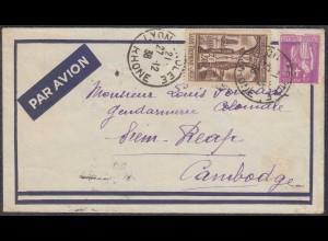 Frankreich - France Brief 1938 von LYON nach Siem Reap Cambodia (27854