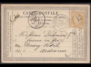 Frankreich - France 1873 Postkarte 15 C. Paris nach Bourg-Fidèle (27857