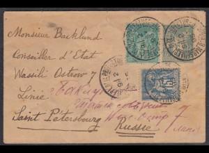 Frankreich - France 1895 Ganzsachen-Umschlag m.Zusatz Marseille-St.Petersburg