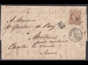 Frankreich - France 1860 Faltbrief mit 40 C. Marseille-Montreux (27859