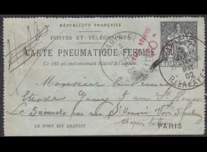 Frankreich - France 1902 Ganzsache Kartenbrief CARTE PNEUMATIQUE FREMEE (27860