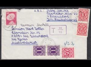 BRD Bund Düsseldorf 1976 nach Zissersdorf Österreich Austria Nachgebühr (27862