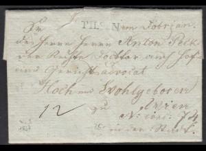 Österreich - Austria 1837 Vorphila mit Inhalt PILSEN L1 nach WIEN L2 (27864