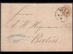 Österreich - Austria 15 Kreuzer braun auf Umschlag von WIEN nach BERLIN (27863