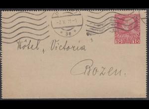 Österreich - Austria 1911 Ganzsache Kartenbrief von Innsbruck nach Bozen (27868