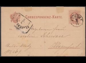 Österreich - Austria Ganzsachen Karte 1876 von ADMONT nach KLAGENFURT (27876