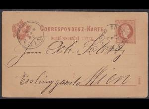 Österreich - Austria Ganzsachen Karte 1880 von Königinhof nach Wien (27878