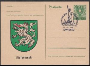 Österreich - Austria 1946 Ganzsache Steiermark m.SST USA-Ausstellung (27884