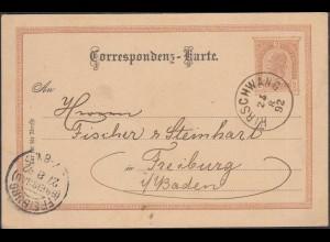 Österreich - Austria 1892 Ganzsache Hirschwang nach Freiburg (27885