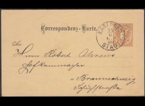 Österreich - Austria 1889 Ganzsache Karlsbad nach Braunschweig (27886