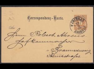 Austria/Tschechoslowakei Ganzsache Correspondenz-Karte KARLSBAD-BAHNHOF 1889