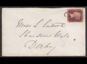Grossbritannien - Great Britain UK kl. Umschlag mit ONE PENNY Bournemouth- Derby