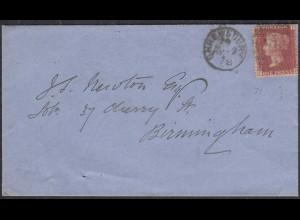 Grossbritannien - Great Britain UK Umschlag mit ONE PENNY Shrewsbury-Birmingham