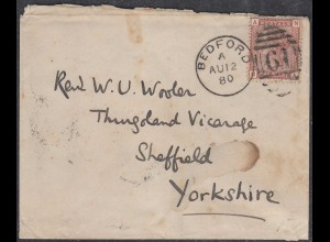 Grossbritannien - Great Britain UK Umschlag 1880 BEDFORD-SHEFFIELD 1 P. (65333
