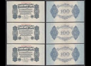3 Stück á 100 Mark 1922 Ro 72 Serie D laufende Nummern UNC (1) (27946