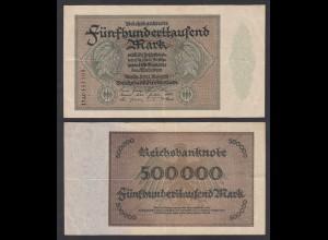 Reichsbanknote - 500 Tausend RM 1923 Ro 87f VF (3) - FZ: AC BZ:17 (28175