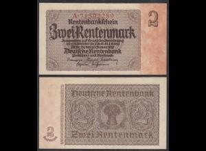 Rentenbankschein 2 Rentenmark 1937 Ro 167b aUNC (1-) Serie A (28177