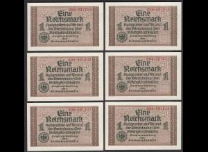 6 Stück á 1 RM Reichskreditkasse 1939/44 Nr. in Folge Ro 551 UNC (1) (28181