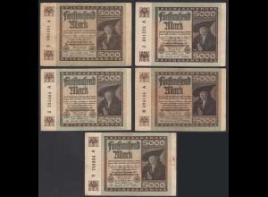 5 Stück á 5000 Mark 1922 Ro 80a Pick 81 FZ: A verschiedene Serien (28217