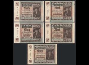 5 Stück á 5000 Mark 1922 Ro 80a Pick 81 FZ: B verschiedene Serien (28218