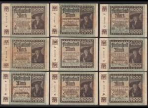 9 Stück á 5000 Mark 1922 Ro 80a Pick 81 FZ: F verschiedene Serien (28221