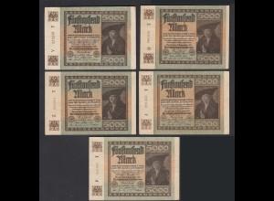 5 Stück á 5000 Mark 1922 Ro 80a Pick 81 FZ: T verschiedene Serien (28224