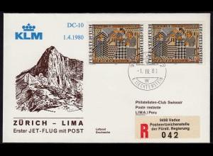 Liechtenstein KLM Erstflug 1980 DC-10 Zürich - Lima Peru (23288