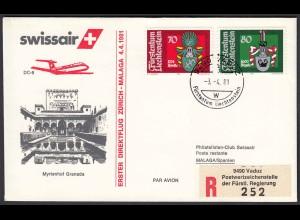 Liechtenstein Erstflug Swissair 1981 Zürich - Malaga mit DC-9 (22934